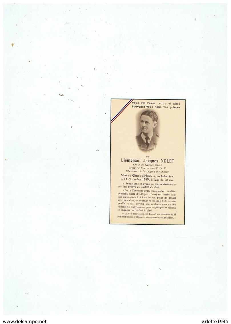 LIEUTENANT JACQUES NOLET MORT AU CHAMP D'HONNEUR EN INDOCHINE 14 NOVEMBRE 1949 à 28 ANS - 1939-45