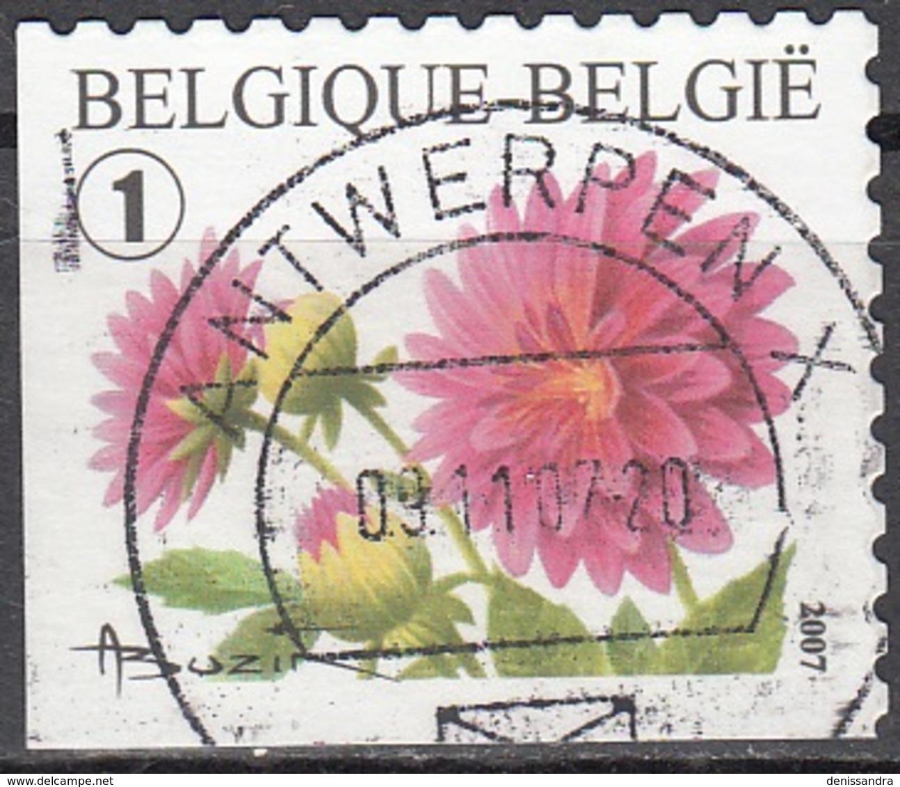 Belgique 2007 COB 3721B O Cote (2016) 2.20 Euro Dahlia Cachet Rond - Belgien