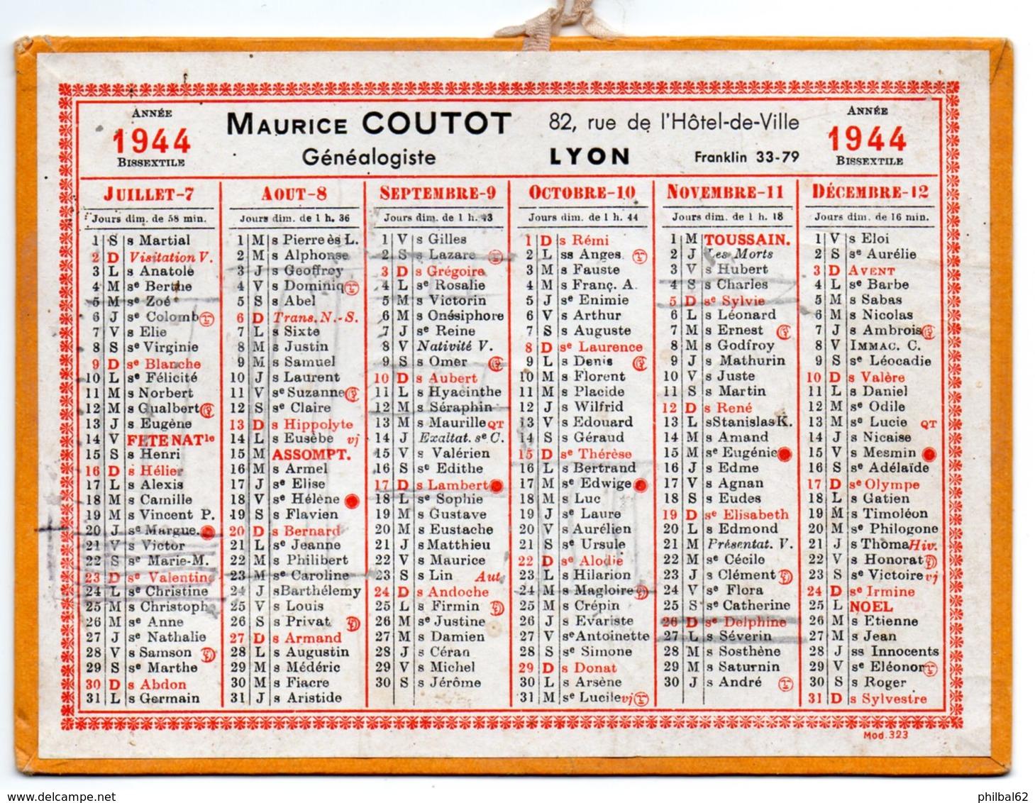 Petit Calendrier Cartonné 1944. A.Coutot, Généalogiste, Recherche D'héritiers. Paris, Bd. St. Germain. - Calendriers