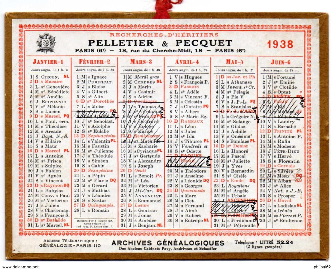 Petit Calendrier Cartonné 1938, Pelletier & Pecquet, Recherche D'héritiers, Paris. - Petit Format : 1921-40