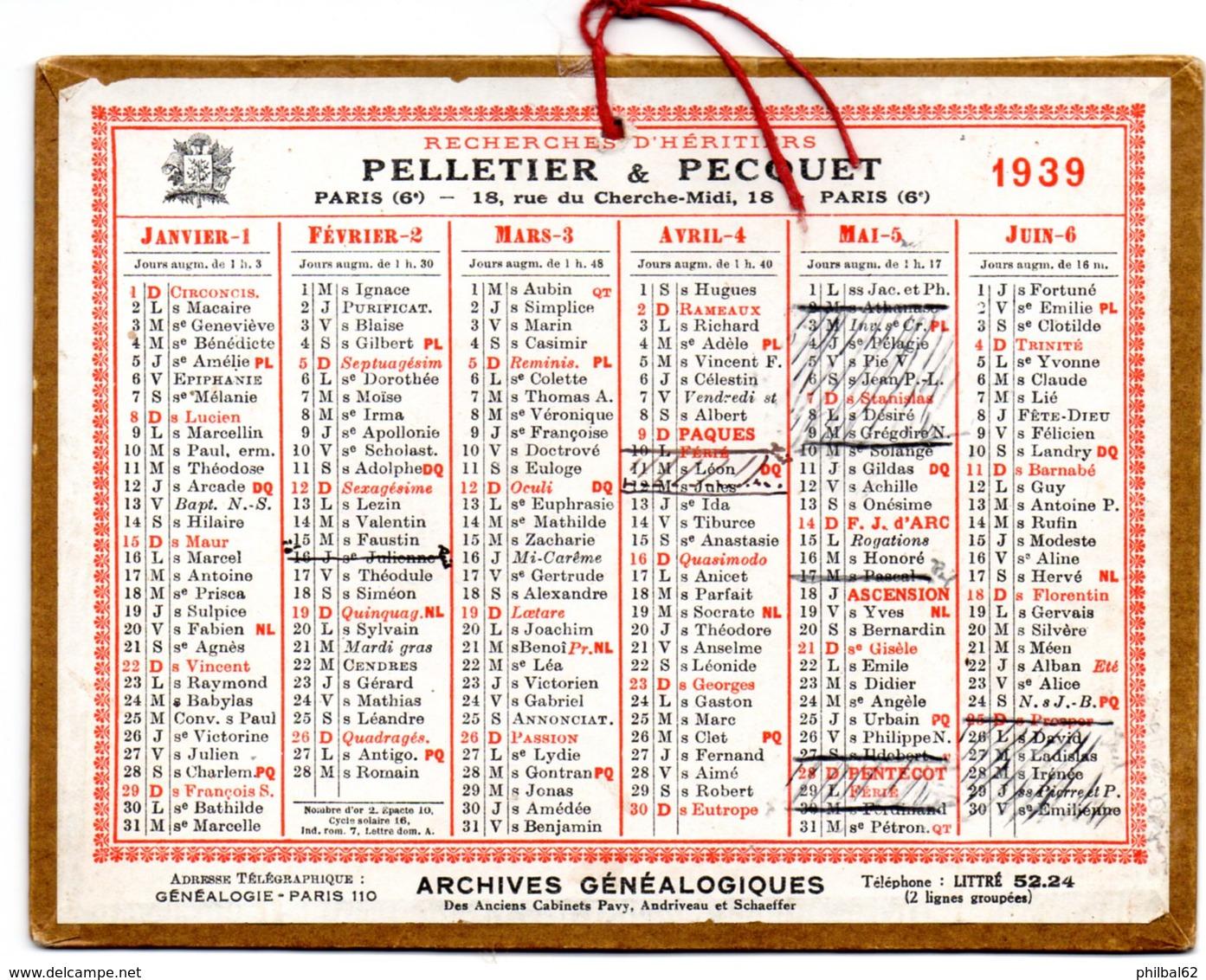 Petit Calendrier Cartonné 1939, Pelletier & Pecquet, Recherche D'héritiers, Paris. - Petit Format : 1921-40