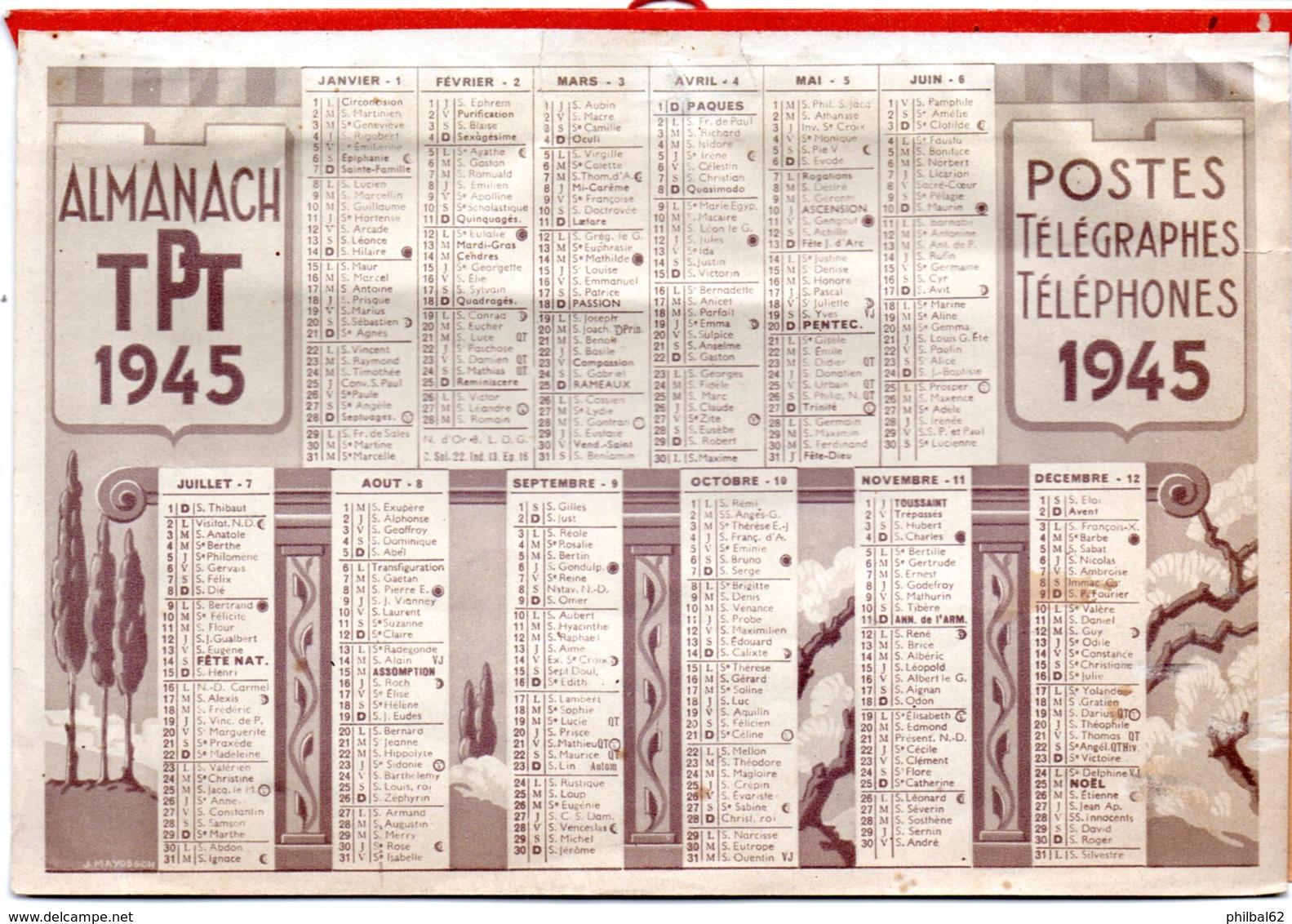 Almanach, Calendrier PTT 1945. Carte De Chemins De Fer, Tarifs Postaux, Levers Et Couchers De Soleil. Illust. J.Mayosson - Calendriers