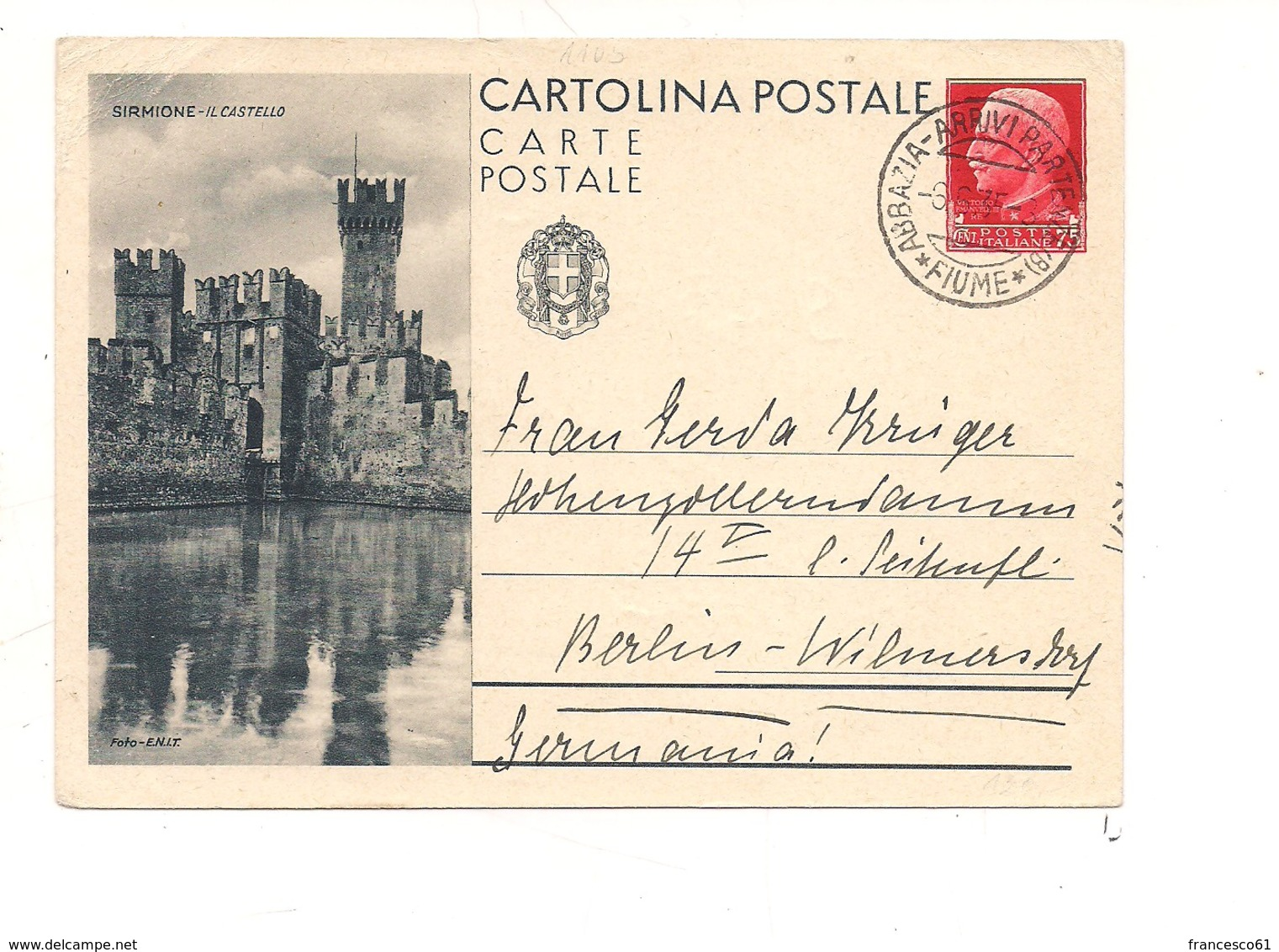 2775) Intero Postale Turistica 75c SIRMIONE 1935  X Estero DA ABBAZIA FIUME - 1900-44 Vittorio Emanuele III