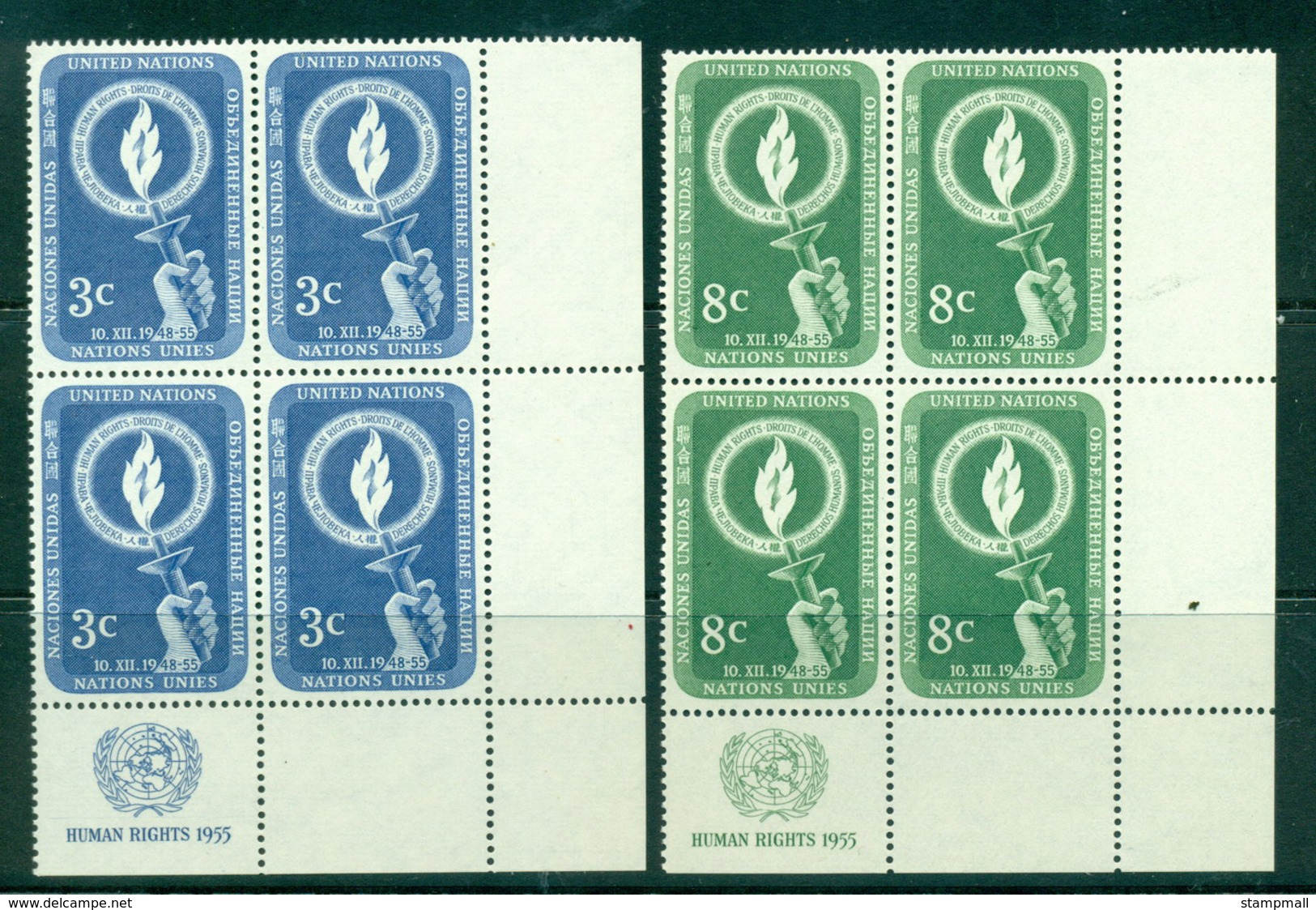 UN New York 1955 Human Rights Day Imprint Blk4 BR MUH Lot40866 - Ungebraucht