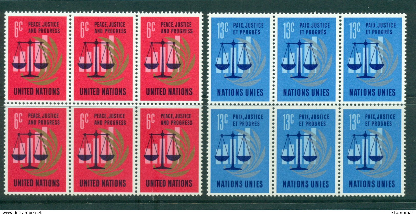 UN New York 1970 Peace, Justice & Progress Blk 6 MUH Lot40987 - New York -  VN Hauptquartier