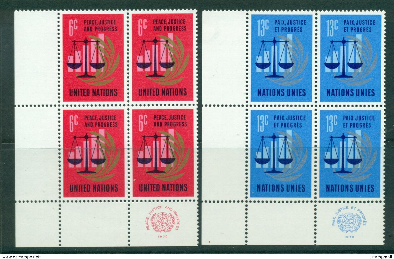 UN New York 1970 Peace, Justice & Progress Imprint Blk 4 MUH Lot40989 - New York -  VN Hauptquartier
