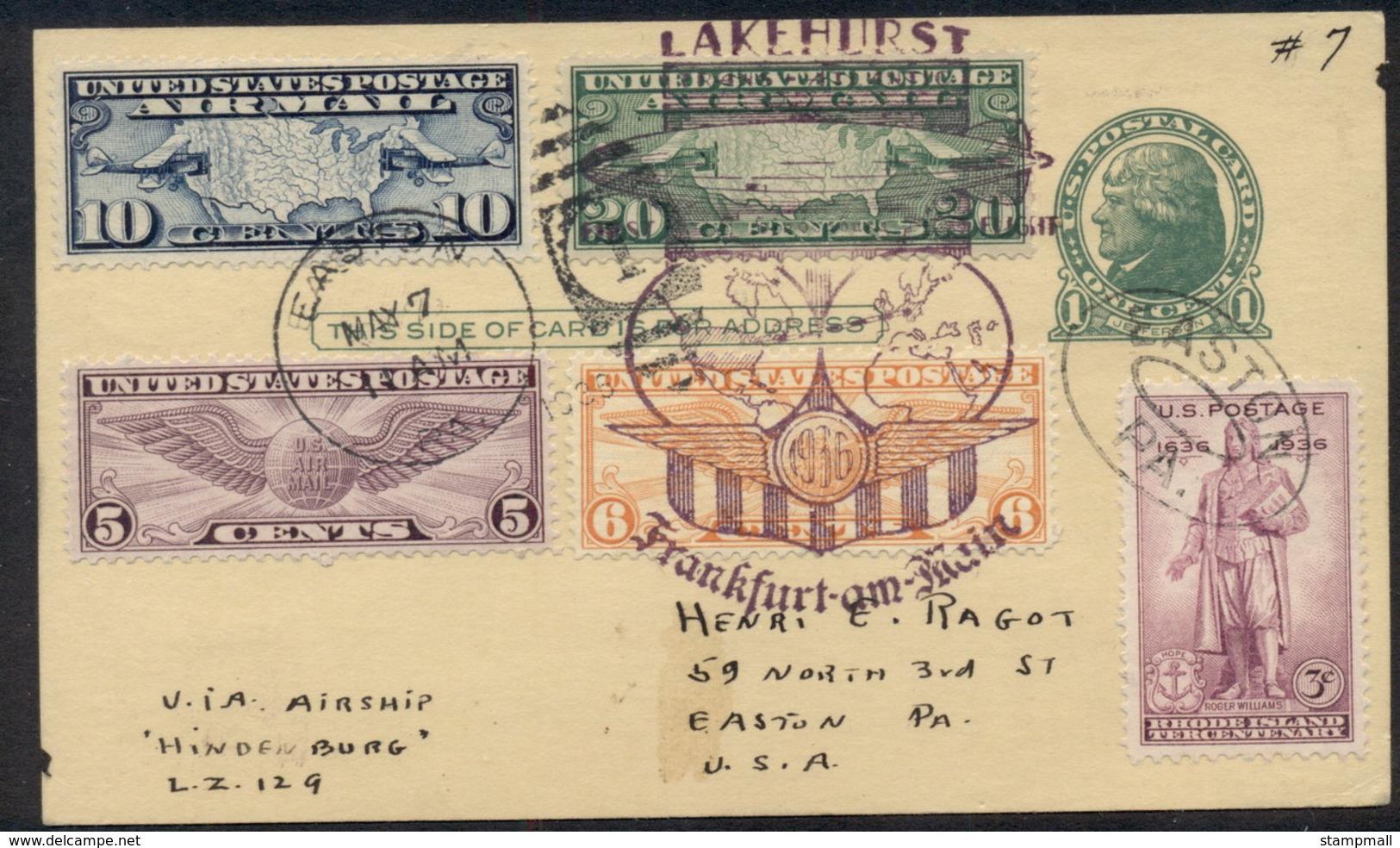 USA 1936 1936 (May 7) Postcard Flown On Hindenburg LZ129 Return Flight Following The First North American Flight Visitin - Unclassified