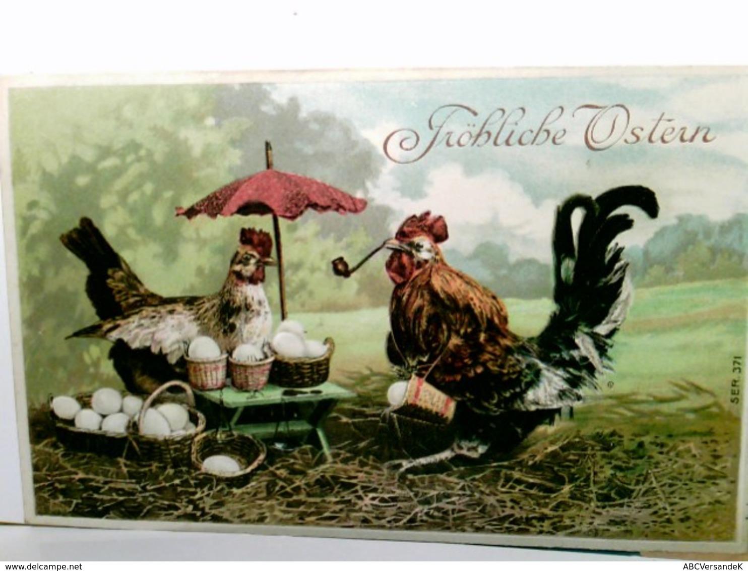 Fröhliche Ostern. Alte Präge - AK Farbig. Hahn Mit Pfeife, Henne Mit Schirm, Körbr Mit Eiern, Gel. 1908 - Holidays & Celebrations