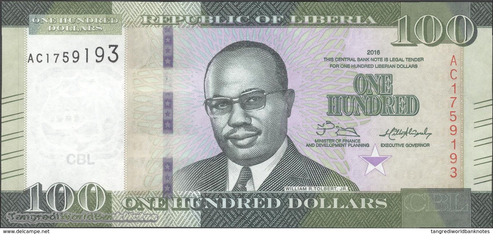 TWN - LIBERIA 35 - 100 Dollars 2016 Prefix AC UNC - Liberia