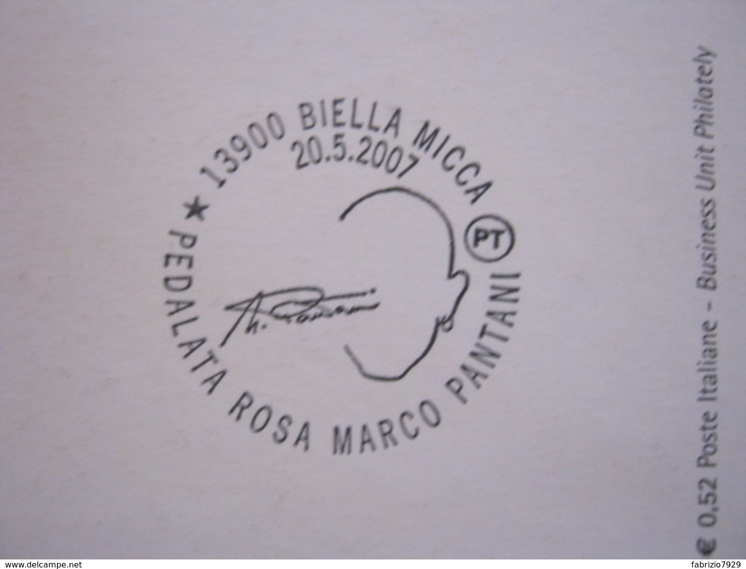 A.03 ITALIA ANNULLO - 2007 BIELLA PEDALATA ROSA MARCO PANTANI AUTOGRAFO 90° GIRO ITALIA CICLISMO - Ciclismo