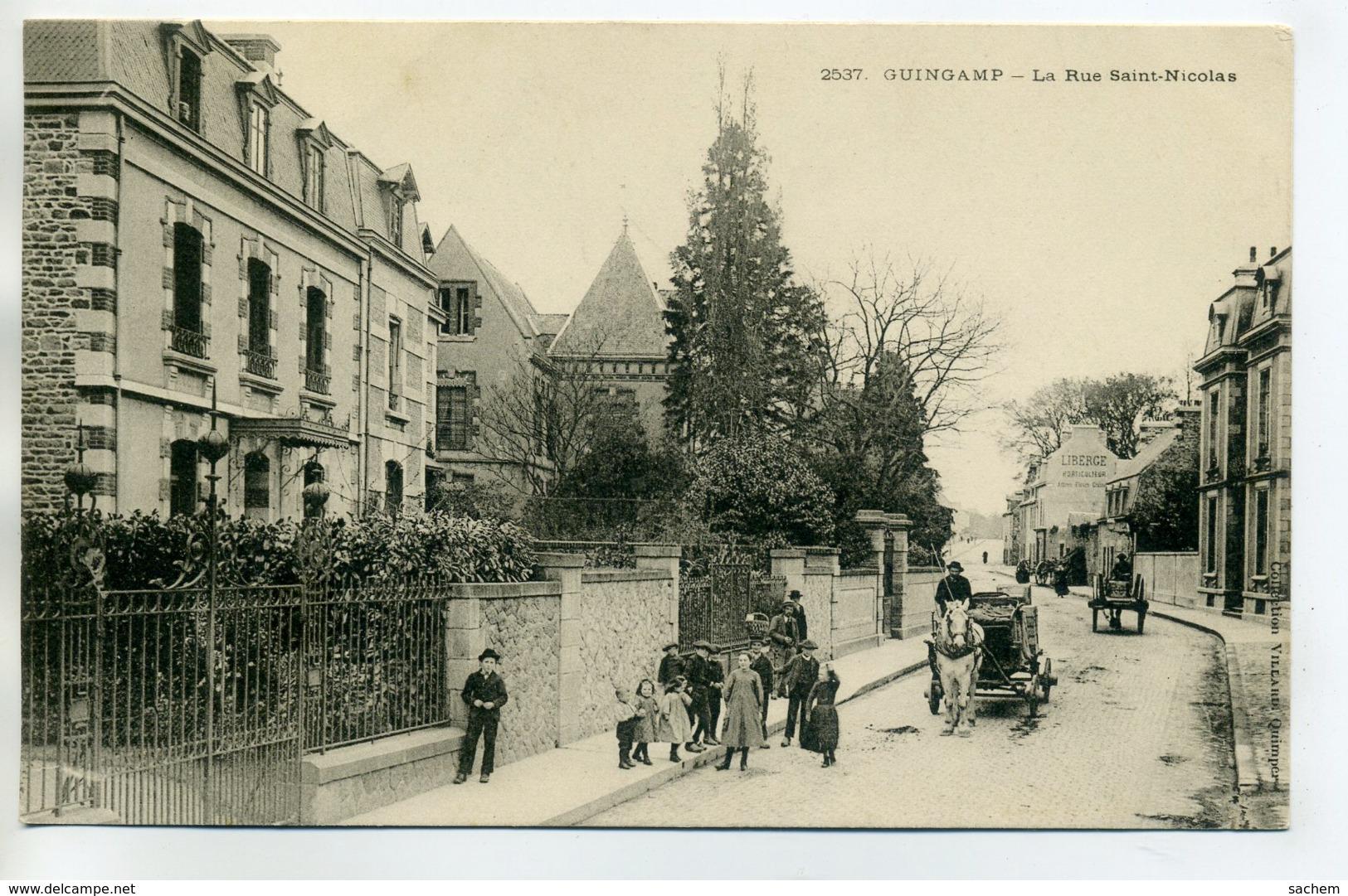 22 GUINGAMP La Rue Saint Nicolas Jolies Villas Attelege Cheval Livraison Anim  écrite Vers 1910      /D08-2017 - Guingamp