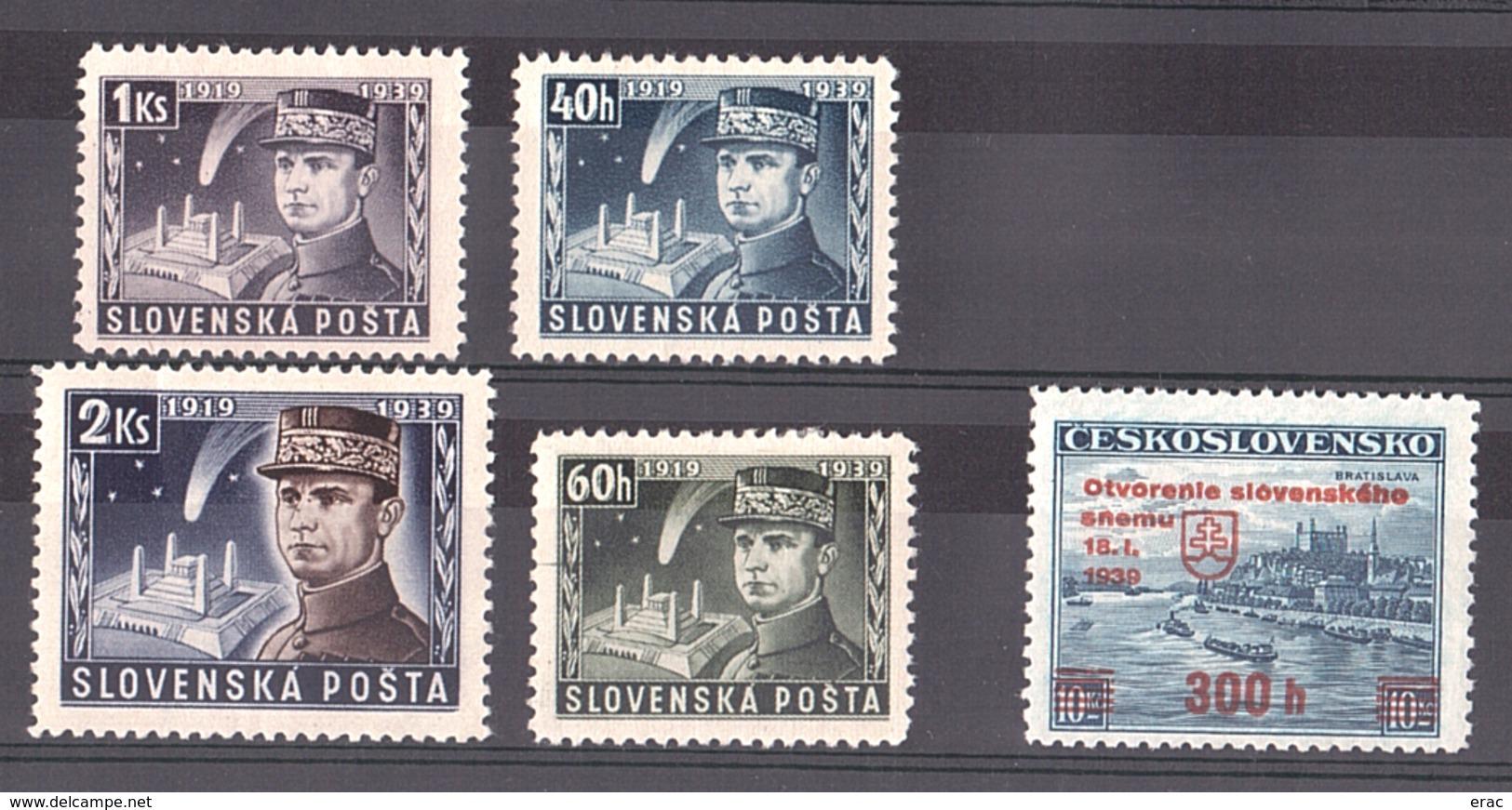 Slovaquie - 1939 - Timbres Neufs * Et (*) - Slovakia