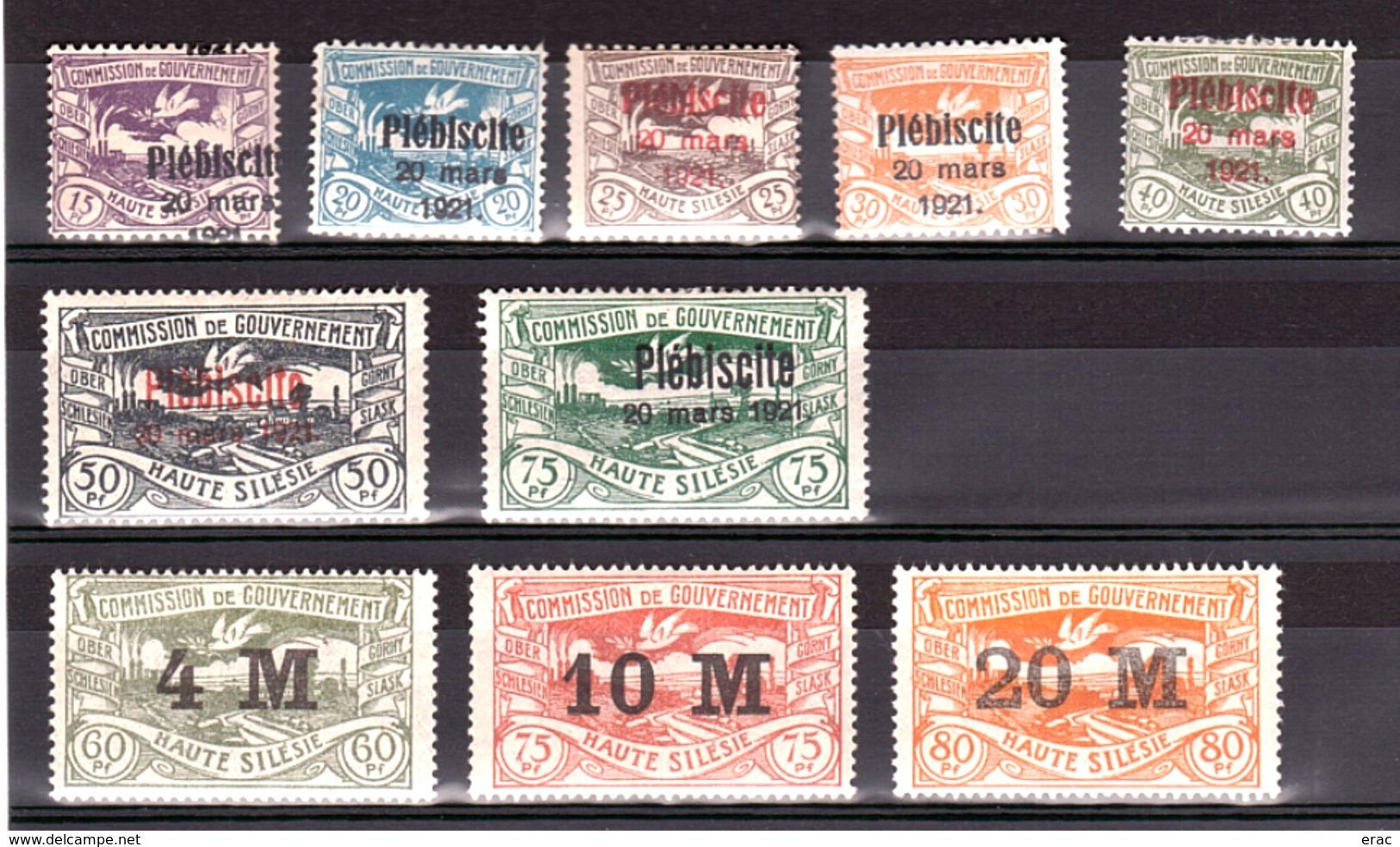 Haute-Silésie - Lot De Timbres Plébiscite 1921 - Neufs * - Cote + 80 - Silésie (Haute & Orientale)