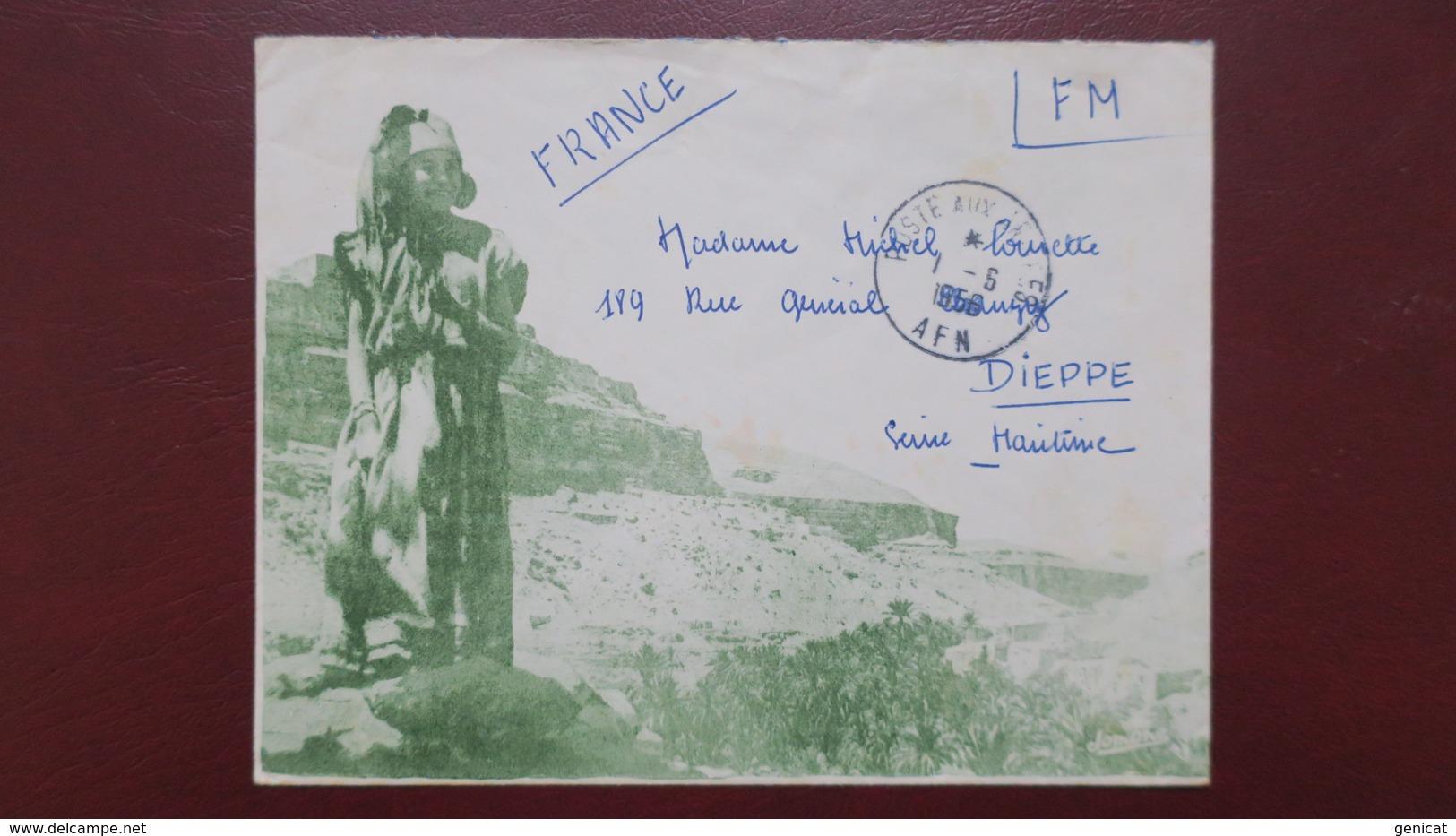 Algerie Enveloppe Illustrée En Franchise Militaire Pour Dieppe Juin 1956 - Algeria (1924-1962)