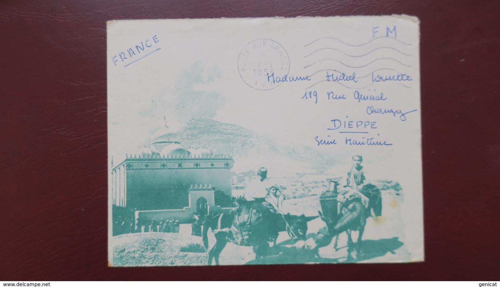 Algerie Enveloppe Illustrée En Franchise Militaire Pour Dieppe Juillet  1956 - Algeria (1924-1962)