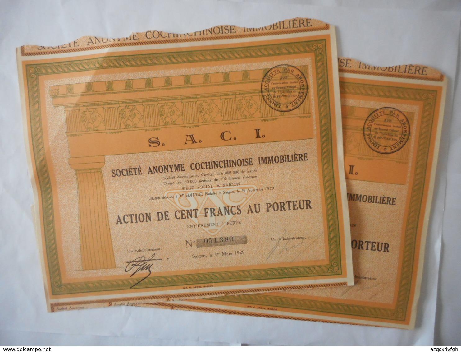 LOT De 2 S A C I COCHINCHINOISE Immobiliere  1929         SAIGON  VIETNAM - Asie