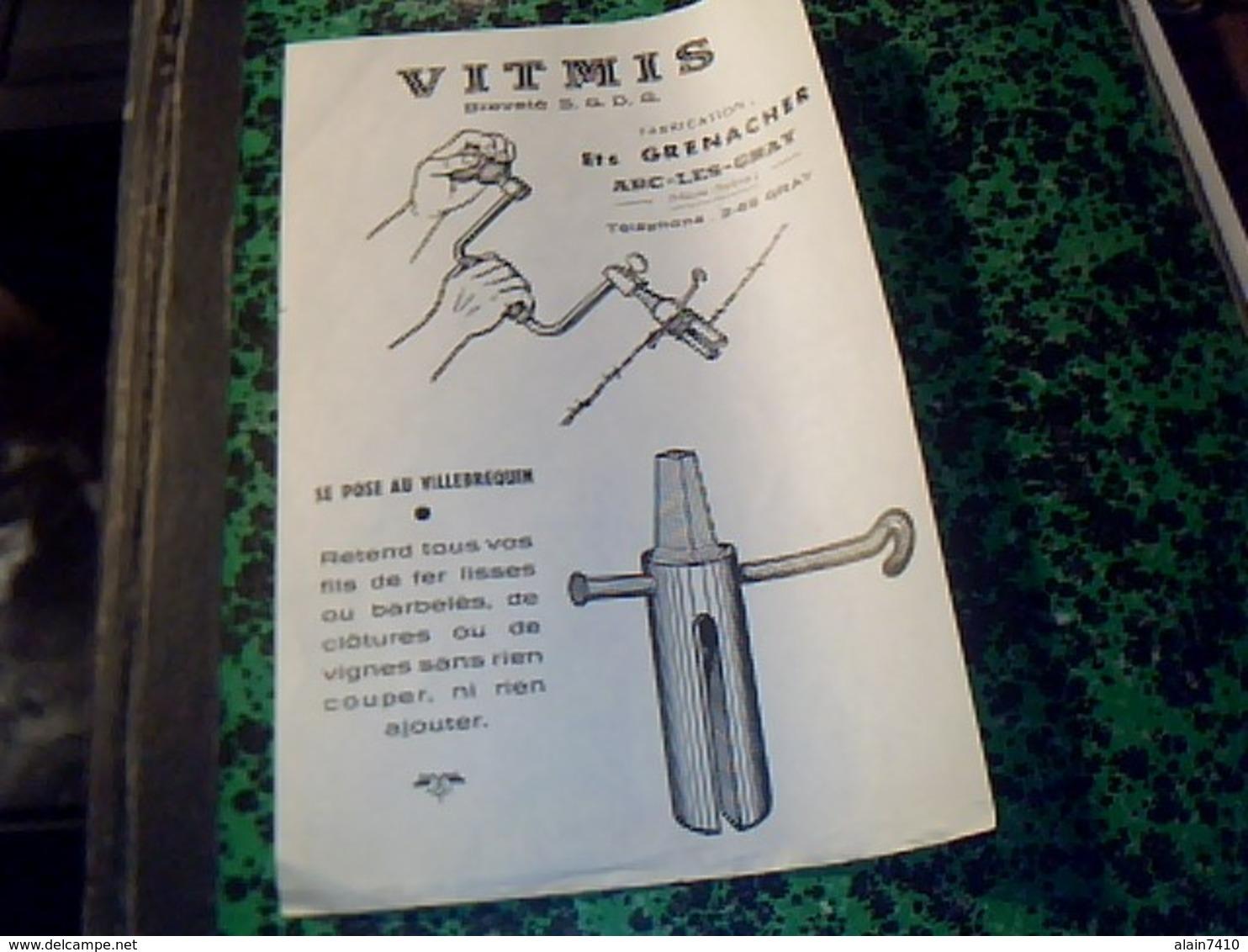 Publicité  Agriculture Tract VITMIS Tendeur Pour Barbelés  Fabriqué A Arc Les Gray  HAUT DE SEINE  Par ETS GRENACHER - Publicités