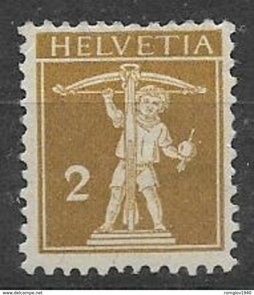 SVIZZERA  1910  WALTER TELL NUOVO TIPO MODIFICATO UNIF.134 MLH VF - Svizzera