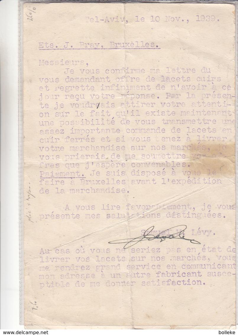 Palestine - Carte Postale De 1939 - Oblit Tel Aviv - Exp Vers Bruxelles - Avec Censure - - Palestine
