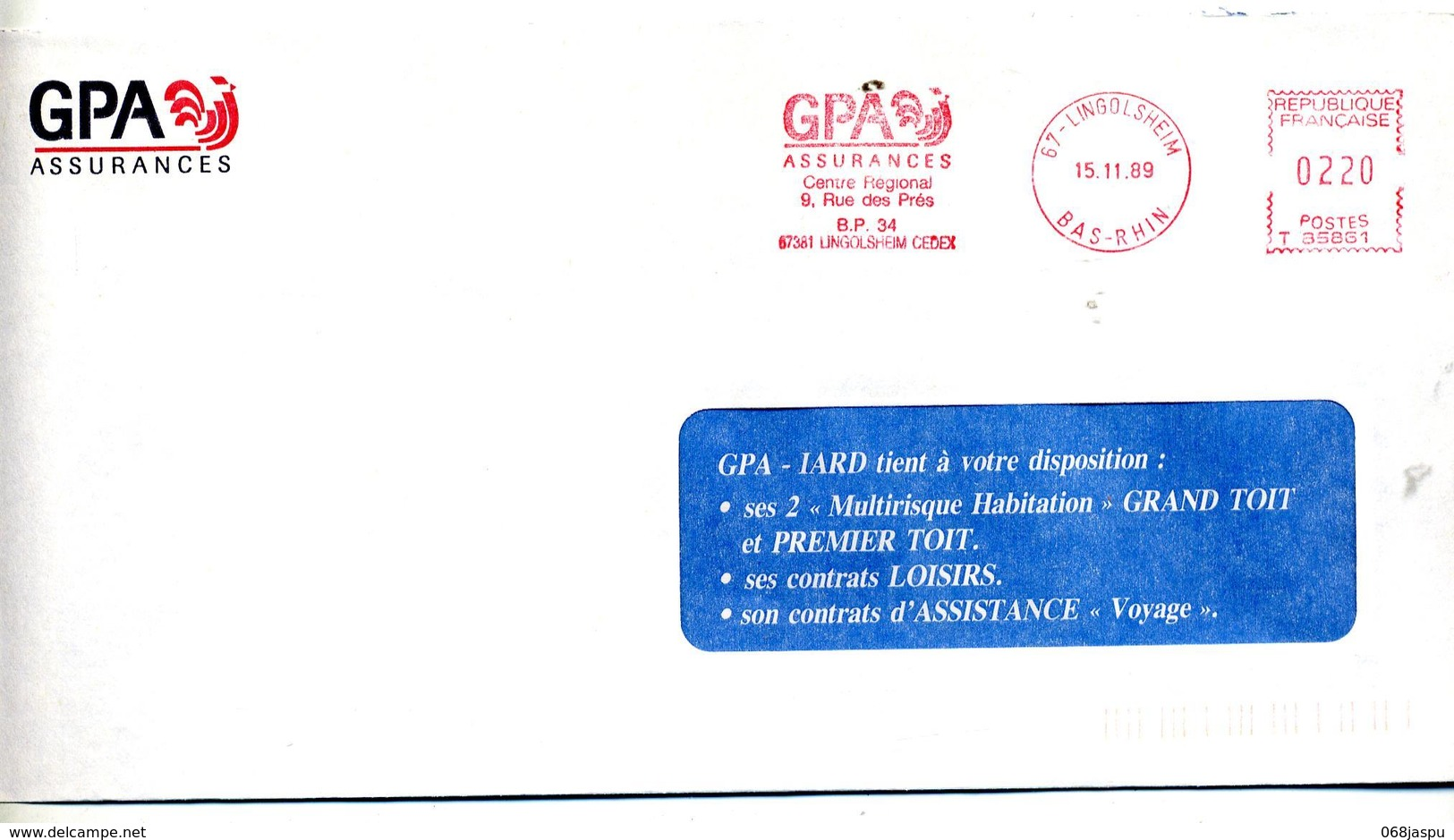 Lettre Flamme Ema Lingolsheim Assurance GPA Theme Coq - Marcophilie (Lettres)