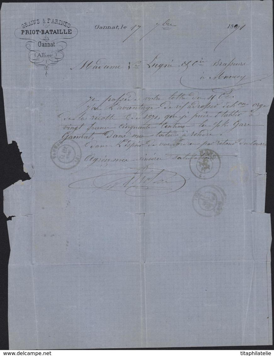 Tarif Septembre 1871 25c YT 37 Variété YT 25 Empire Lauré 1c YT 41 B Bordeaux Tricolore 3 émissions Différentes - 1849-1876: Période Classique