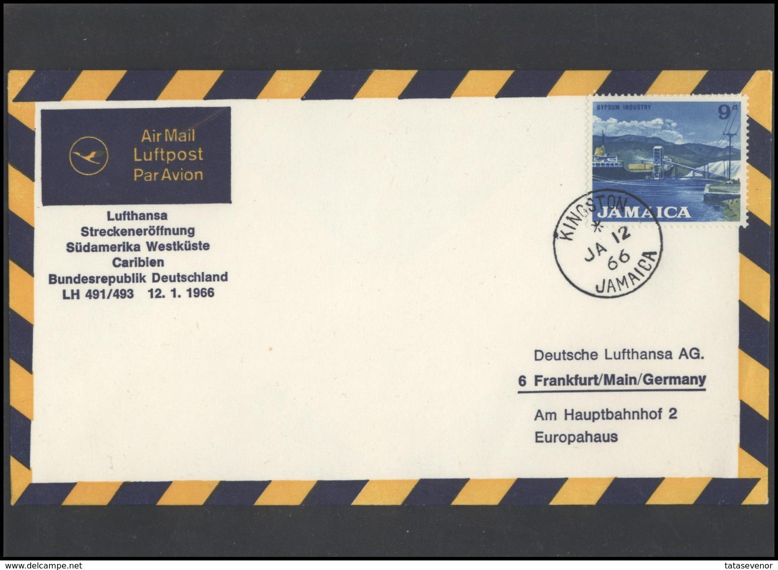 GERMANY Deutschland D BRD Brief LH 004 First Flight Kingston Jamaica LUFTHANSA - BRD