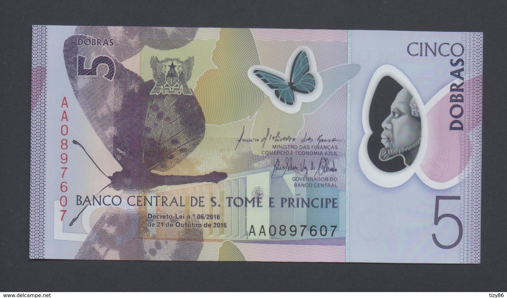 Banconota 5 DOBRAS 2016 - S. TOME E PRINCIPE-  Polymer FDS UNC - Sao Tomé Et Principe