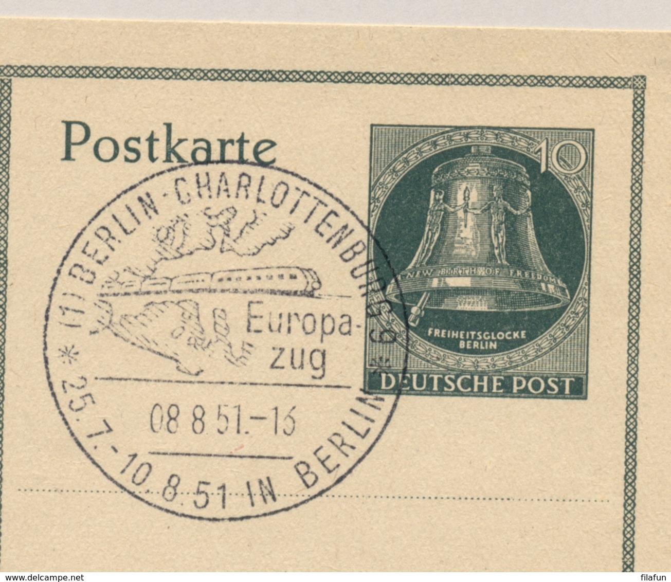 Berlin - 1951 - Freiheitsglocke Klöppel Links - Sonderpostkarte Europa Zug - [5] Berlijn