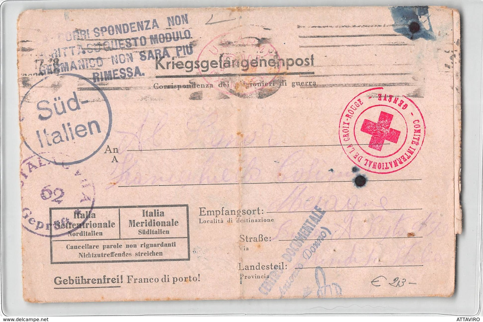 11925 01 KRIEGSGEFANGENENPOST ITALIAN PRISONER STALAG TO MESAGNE - RED CROSS - CENSORED US ARMY - Storia Postale