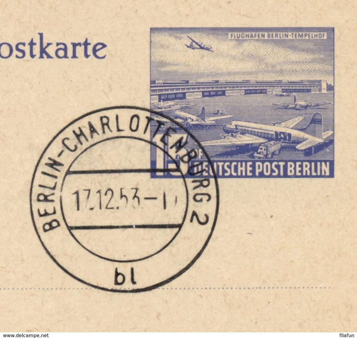 Berlin - 1953 - 15pf Luftpostkarte - Flughafen Berlin Tempelhof - Cancelled FDC, Not Sent - Postkaarten - Gebruikt