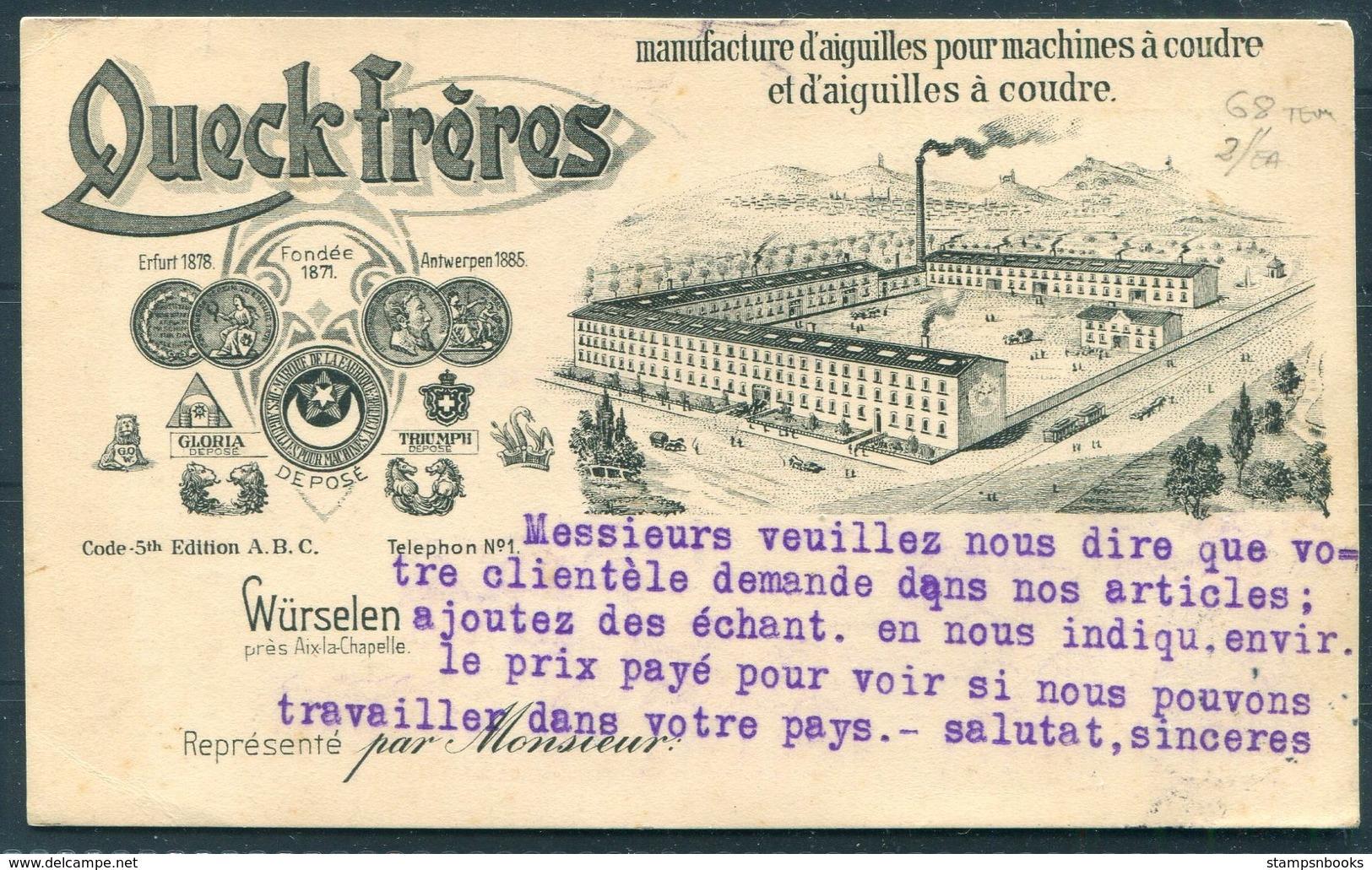 1914 Germany Queck Freres Illustrated Advertising Postcard Wurselen - Patras Greece - Deutschland
