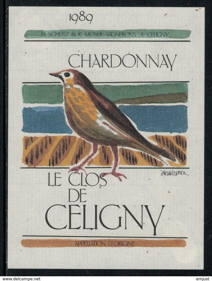 Rare // Etiquette De Vin // Oiseaux // Chardonnay, Le Clos De Céligny - Etiquettes
