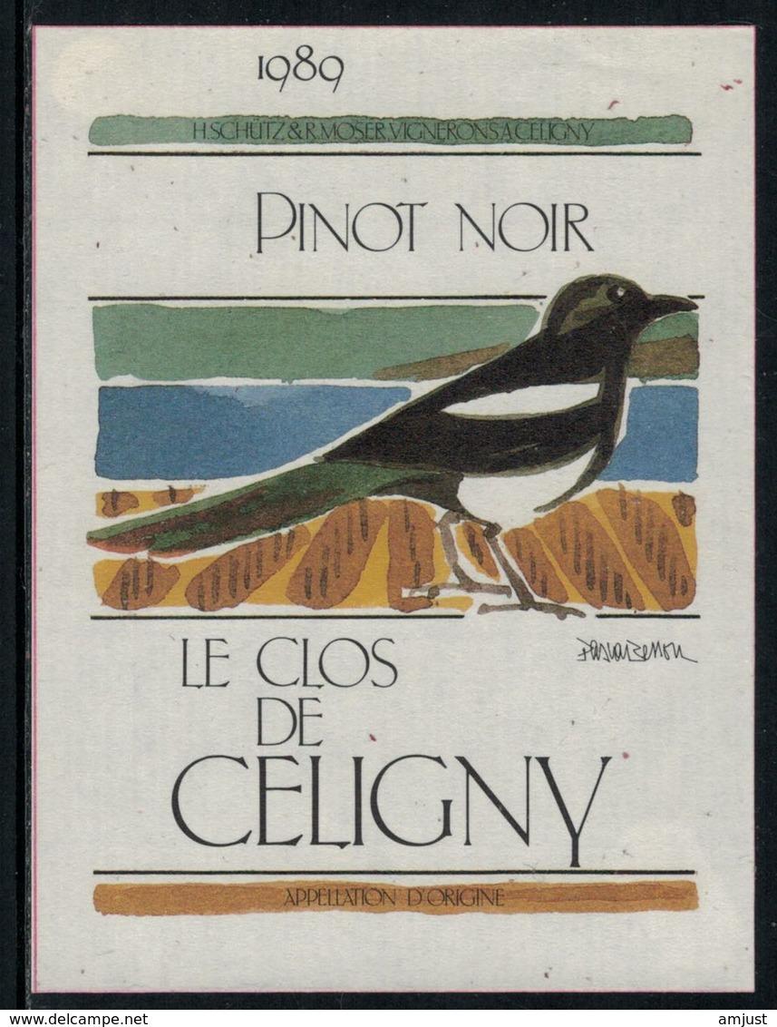 Rare // Etiquette De Vin // Oiseaux // Pinot Noir, Le Clos De Céligny - Etiquettes