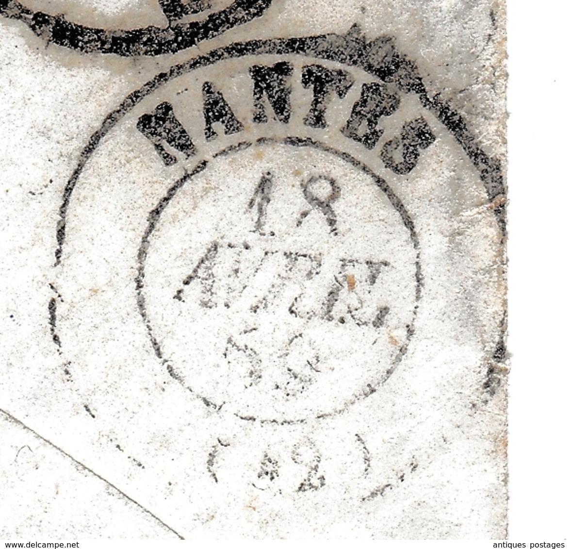 Lettre Paris 1859 Nantes Loire Atlantique Napoléon III 20 Centimes Cachet Paris à Nantes - 1853-1860 Napoléon III