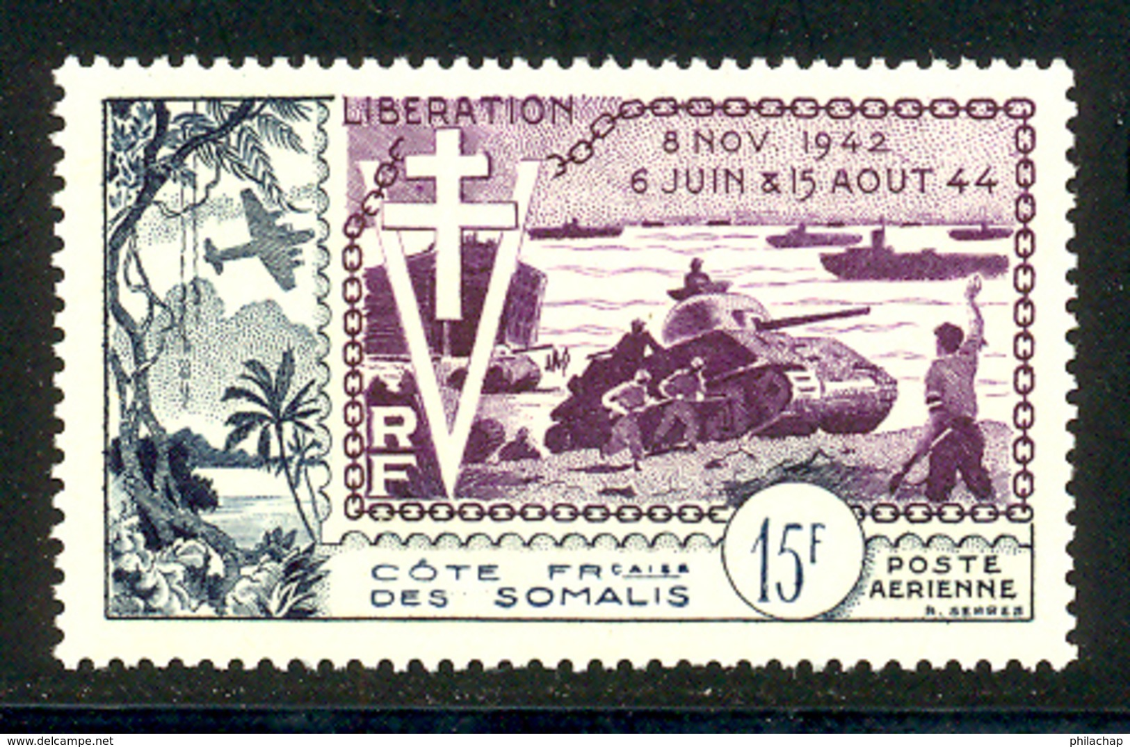 Cote Des Somalis PA 1954 Yvert 24 ** TB Liberation Bord De Feuille - Frans-Somaliland (1894-1967)