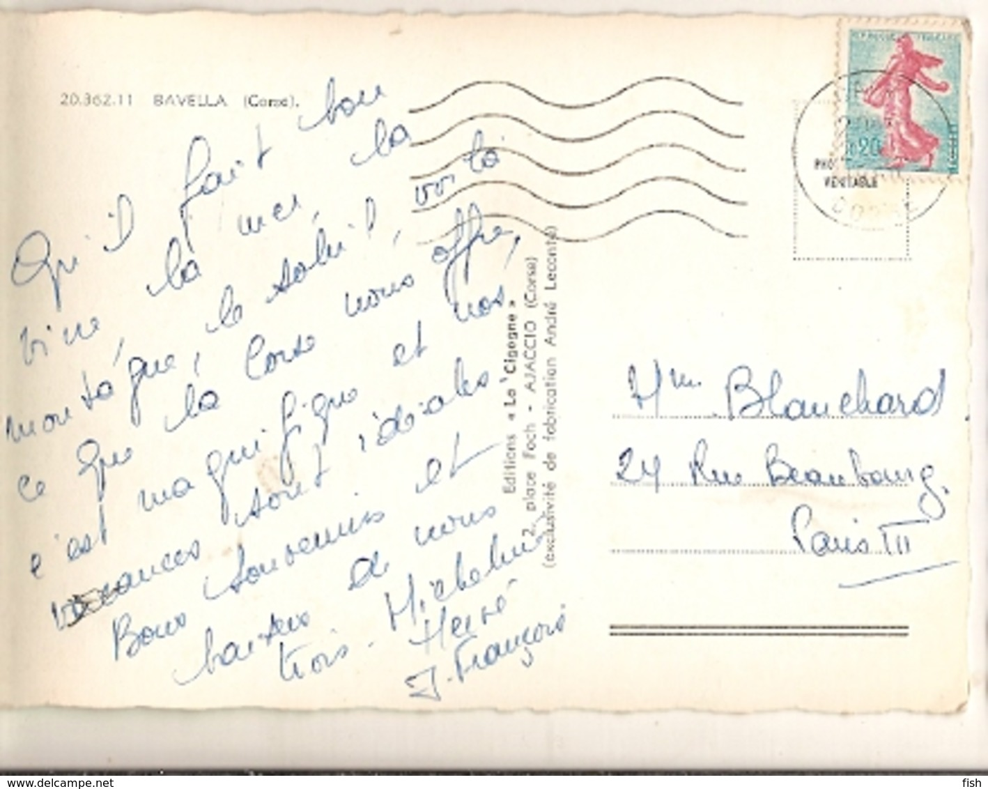France & Circulated, Bavella, Corse,Statue De Notre-Dame Des Neiges, Calvi, Paris 1960 (2036211) - Denkmäler