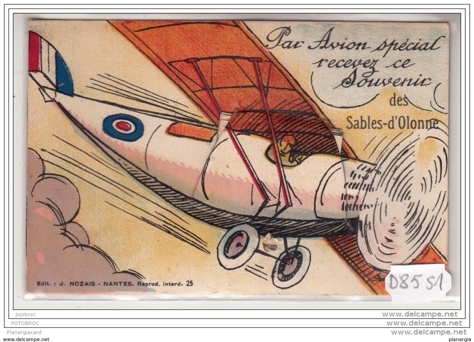 1784 D85 AK PC CPA PAR AVION SPECIAL RECEVEZ CE SOUVENIR DES SABLES D OLONNE CARTE SYSTEME - Avions