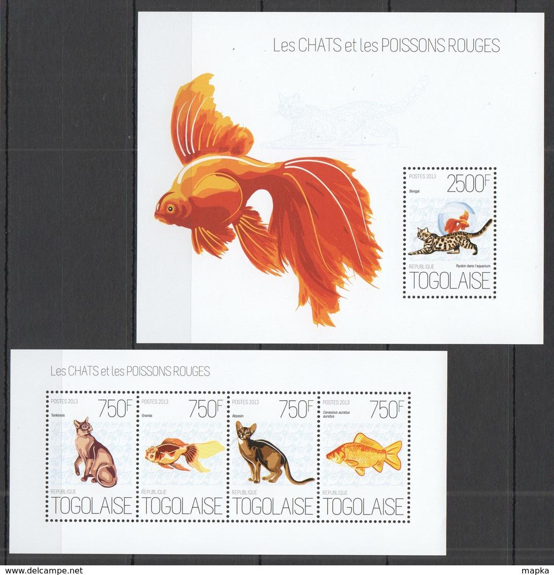 WW249 2013 TOGO TOGOLAISE FAUNA PETS FISH & MARINE LIFE CATS & GOLDFISHES KB+BL MNH - Chats Domestiques
