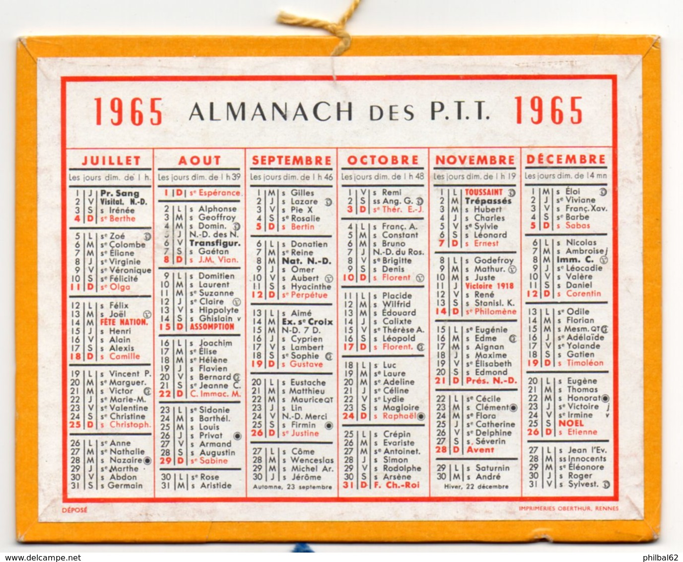 Calendrier Cartonné Almanach Des PTT 1965. - Calendriers