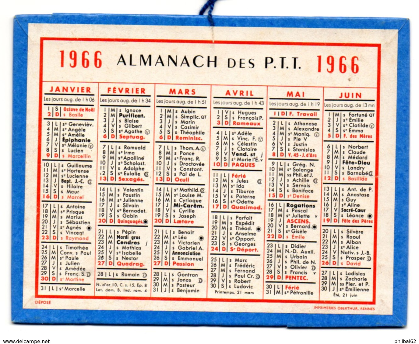 Calendrier Cartonné Almanach Des PTT 1966. - Calendriers
