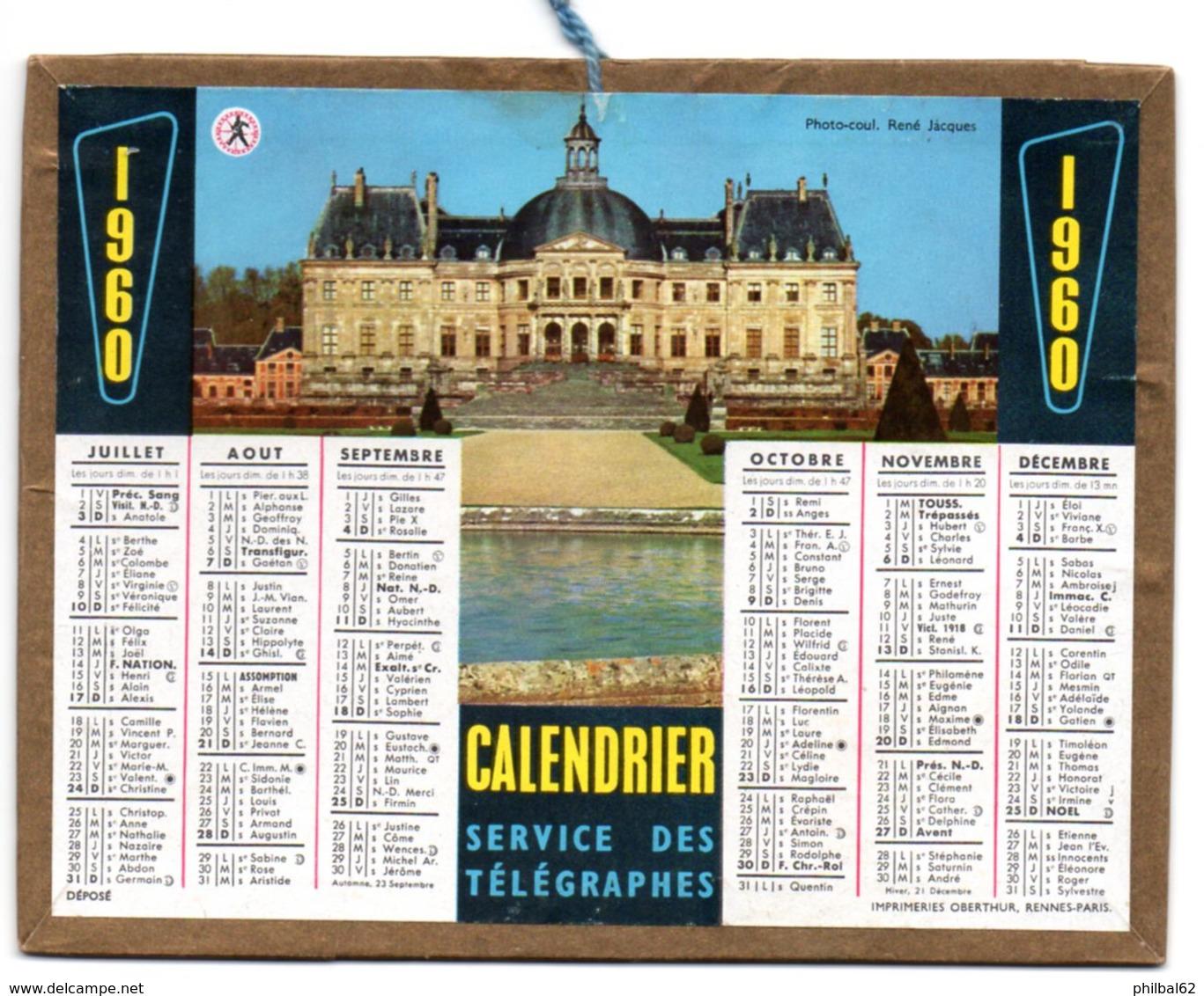 Calendrier Cartonné Almanach Des PTT 1960. 2 Chateaux, Dont Celui De Versailles. - Calendriers