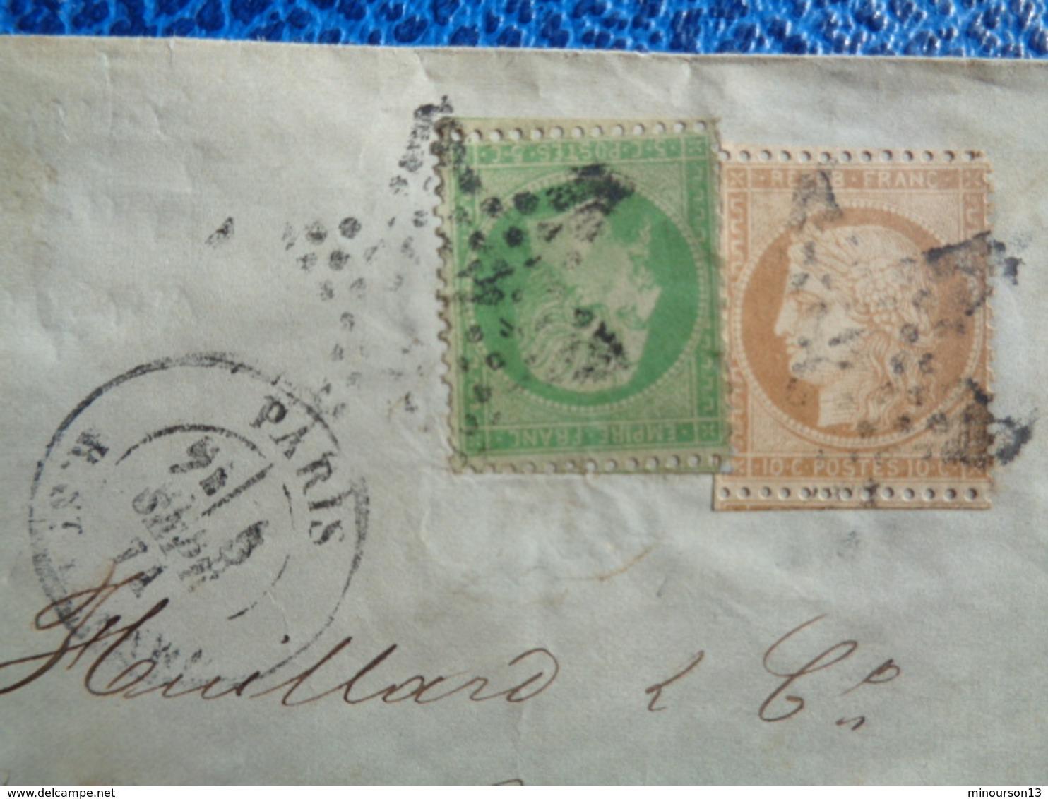 SUR LETTRE N° 35 NAPOLEON & 36A CERES OBLITERATION ETOILE - 1870 Siège De Paris