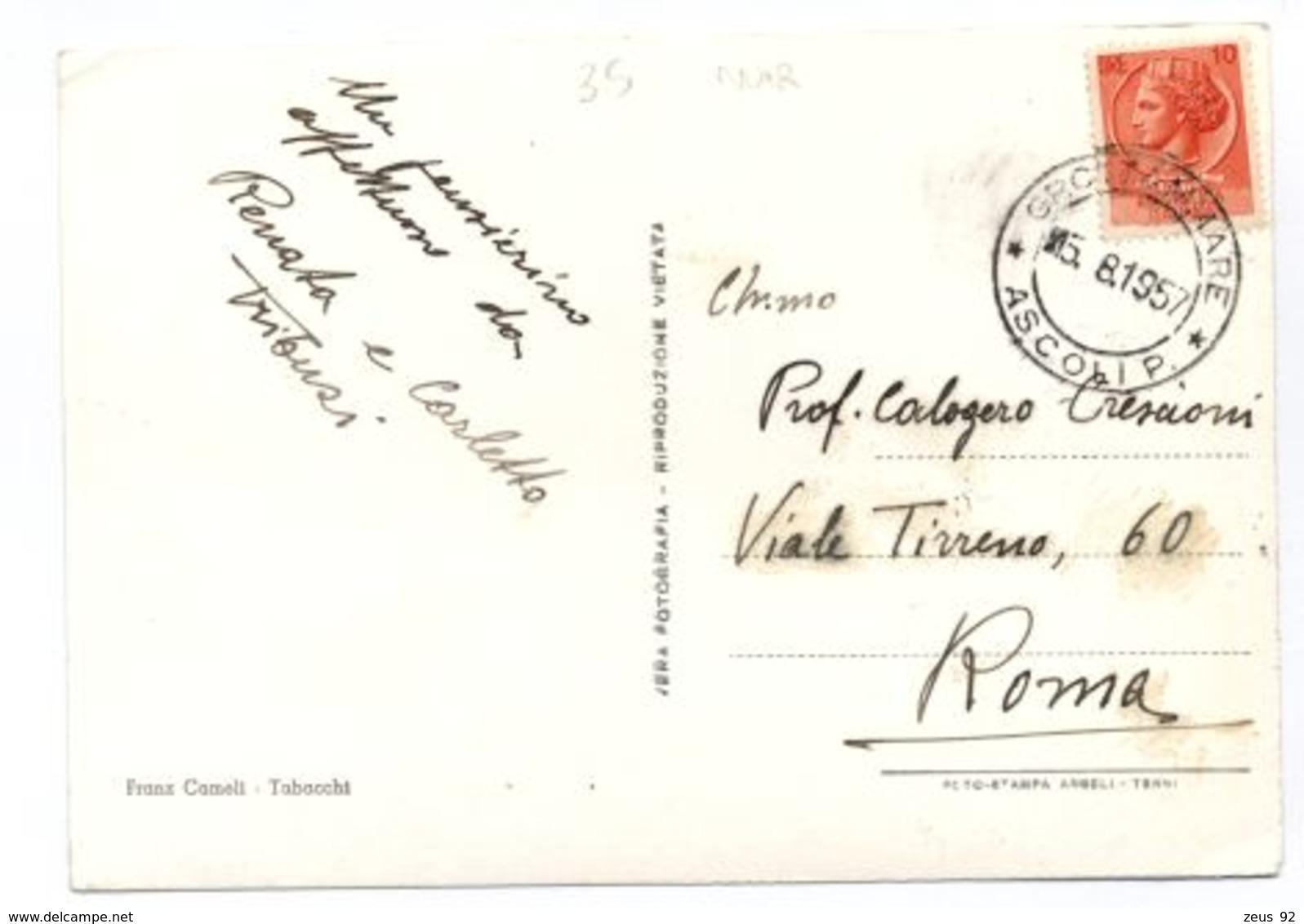 B9631 GROTTAMMARE - SPIAGGIA MOLTO ANIMATA B\N VG 1957 - Altre Città