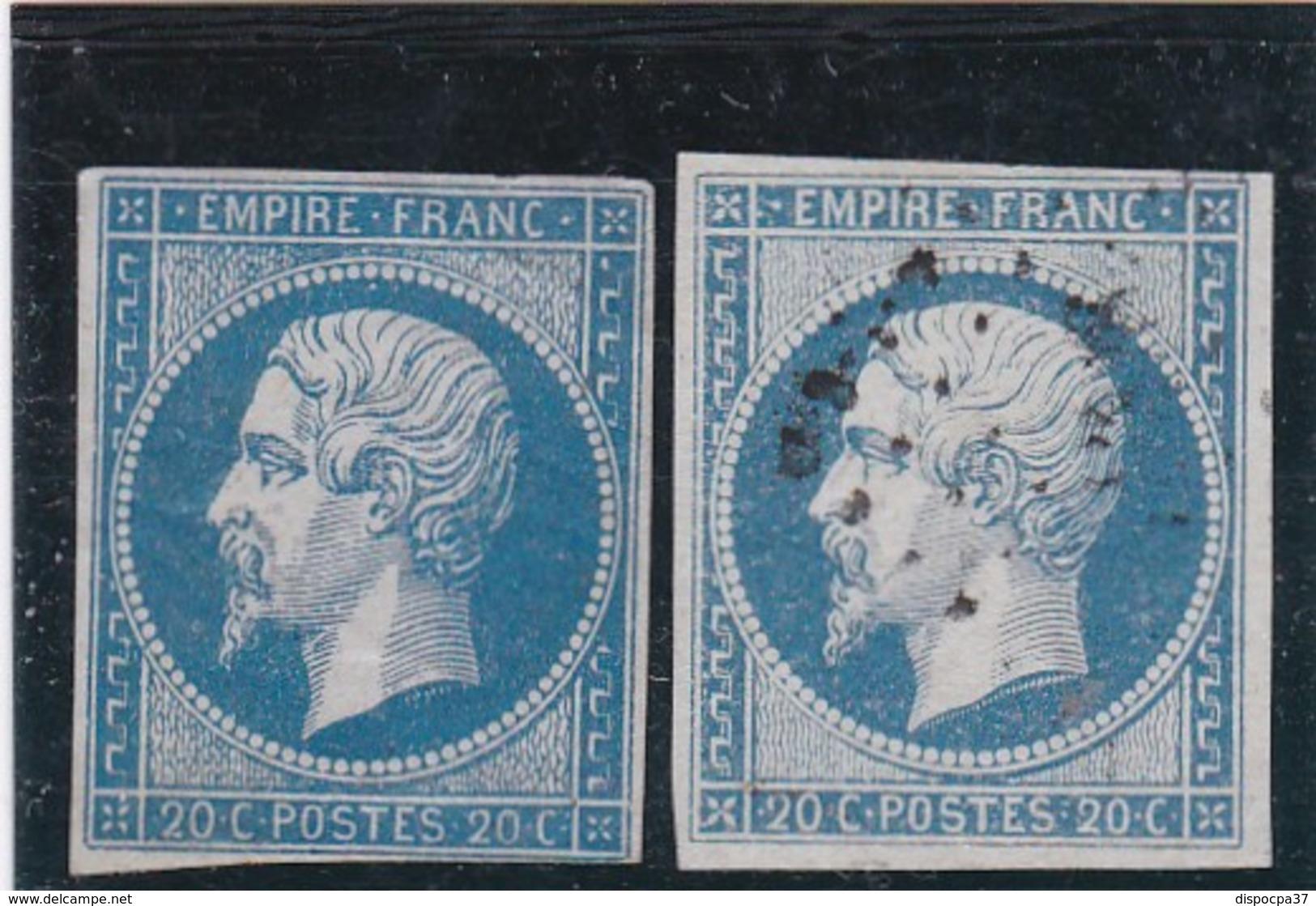 N° 14   LOSANGE PETIT CHIFFRE /  2 NUANCES   REF ACDIV - 1853-1860 Napoleon III