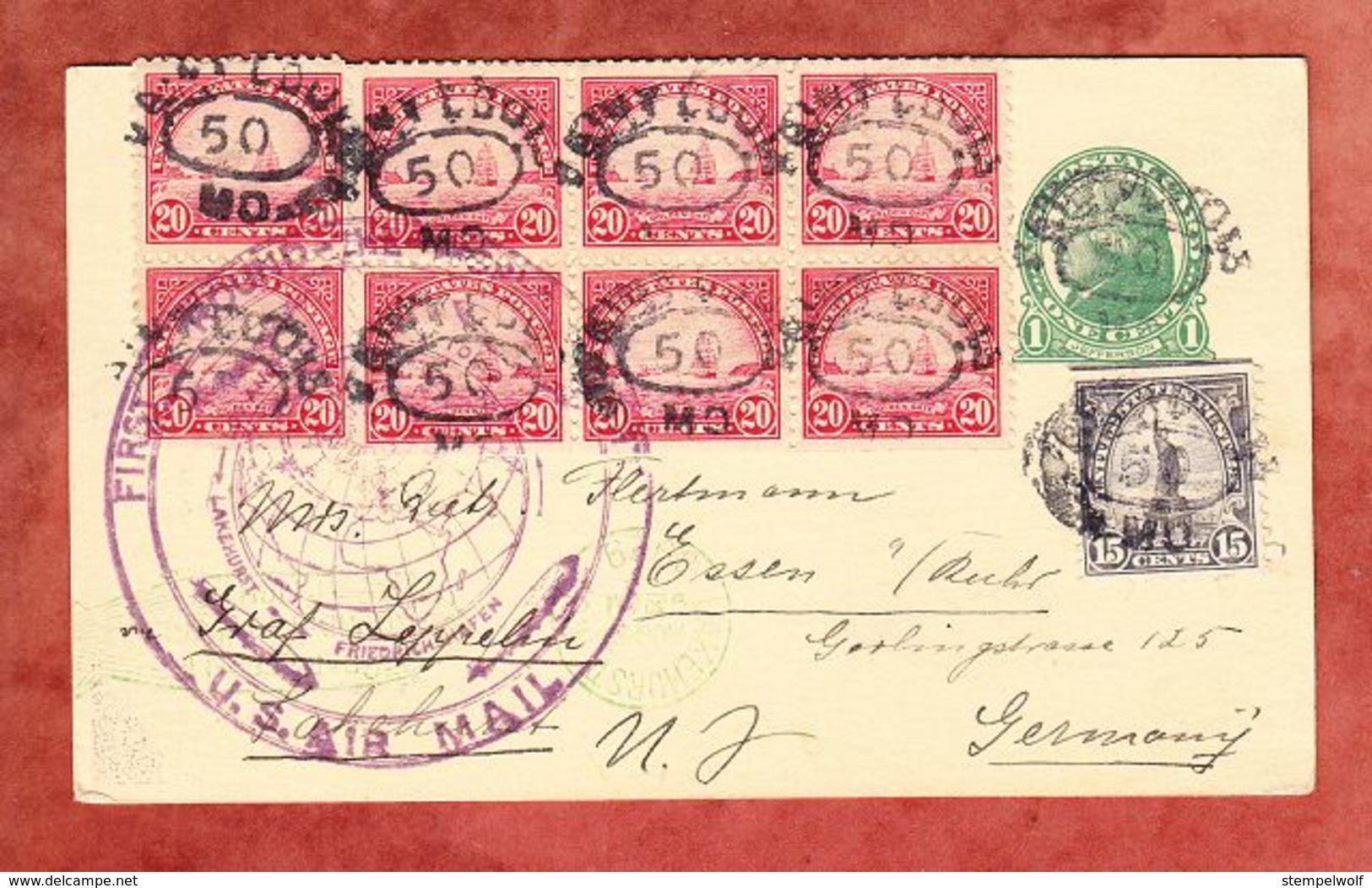 P Jefferson + ZF, LZ 127 Graf Zeppelin, Weltrundfahrt Lakehurst Friedrichshafen, Saint Louis Nach Essen 1929 (61468) - 1921-40