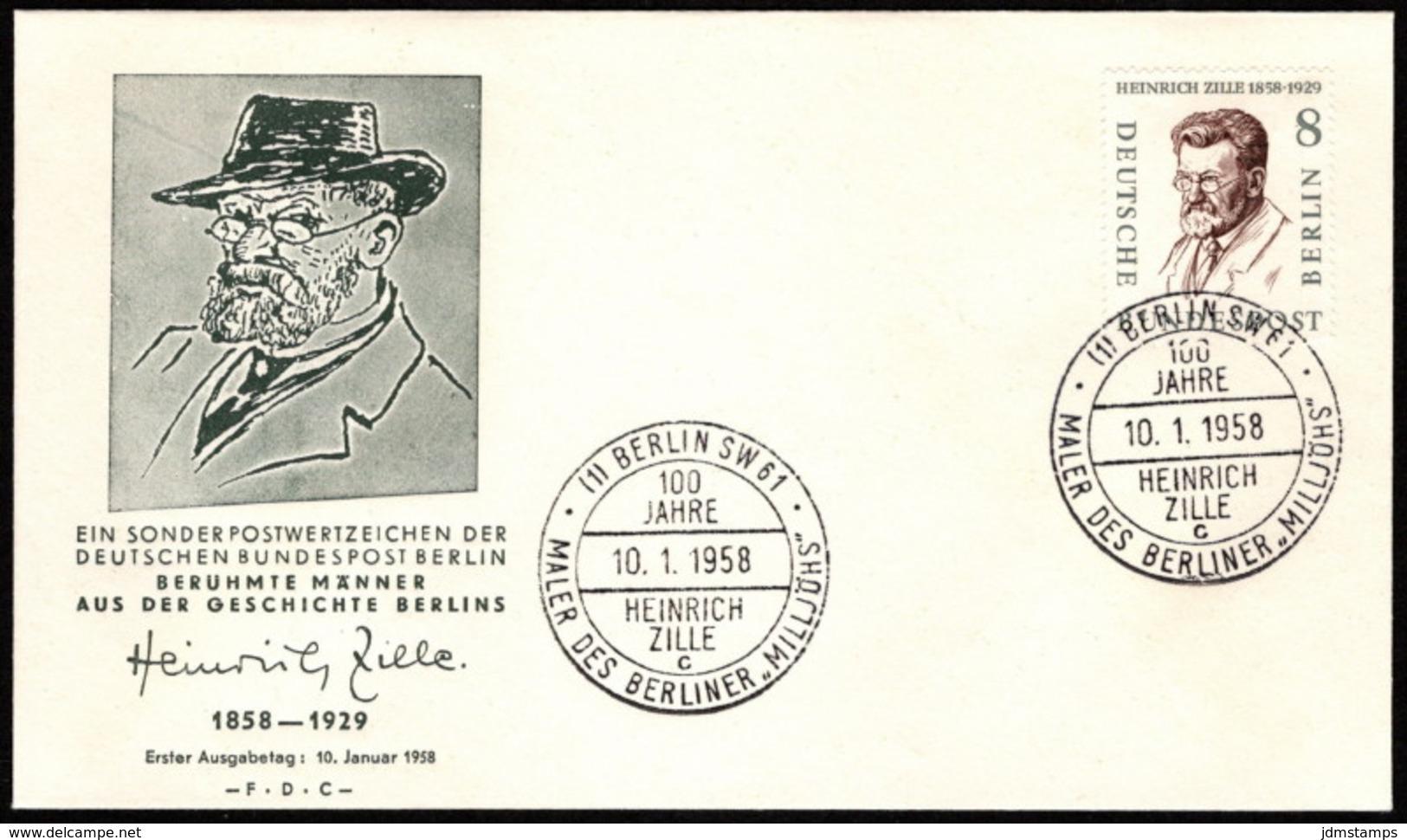 BER SC #9N149 1958 Heinrich Zille FDC 01-10-1958 - [5] Berlin