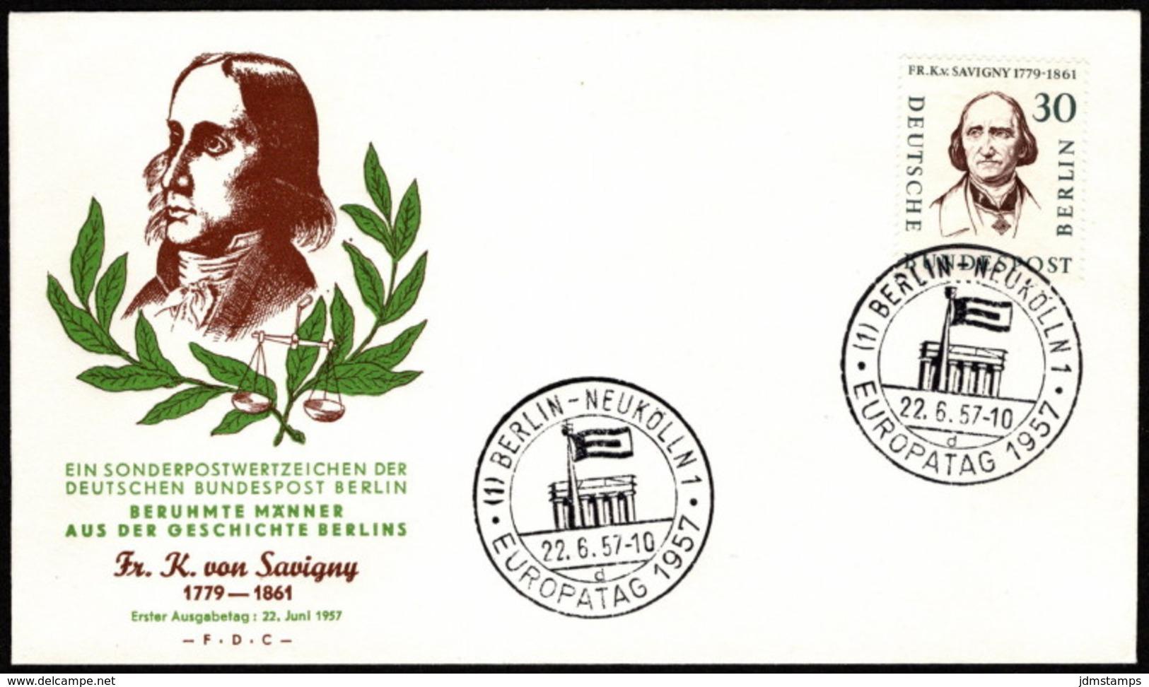 BER SC #9N154 1957 Friedrich Von Savigny FDC 06-22-1957 - [5] Berlin
