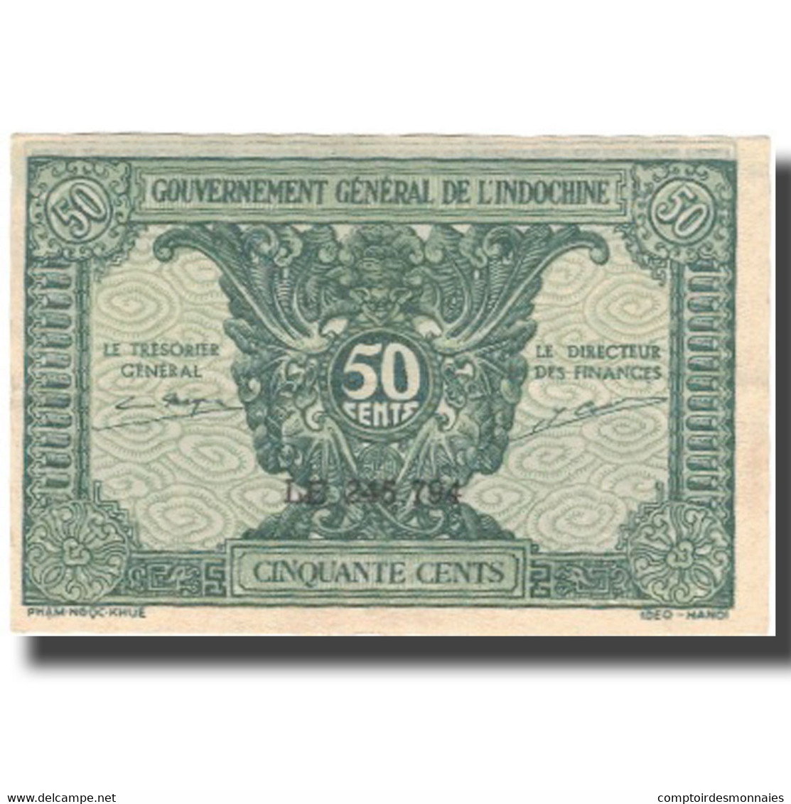 Billet, FRENCH INDO-CHINA, 50 Cents, Undated (1942), KM:91a, SPL - Indochine