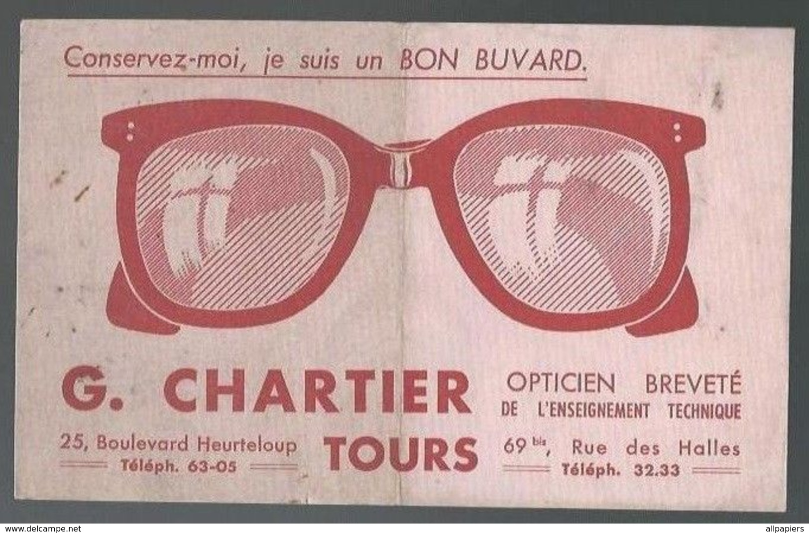 Buvard Opticien Breveté De L'enseignement Technique G.Chartier Tours - Buvards, Protège-cahiers Illustrés