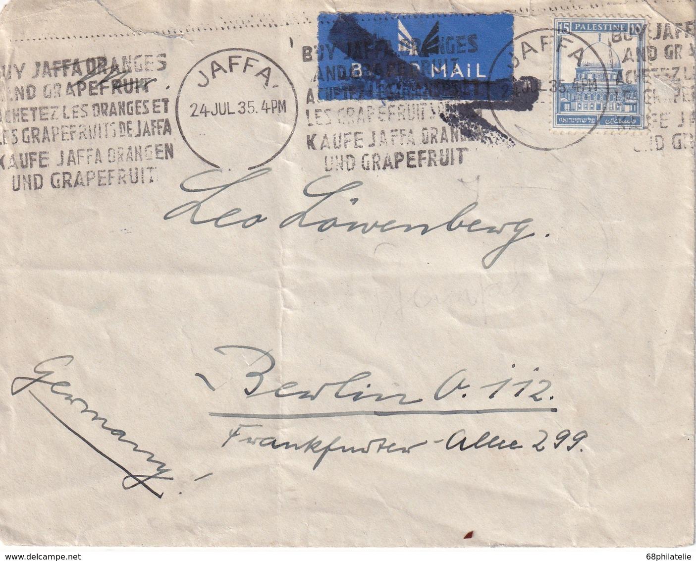 PALESTINE 1935 LETTRE DE JAFFA - Palestine